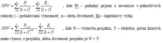Čistá súčasná hodnota - NPV