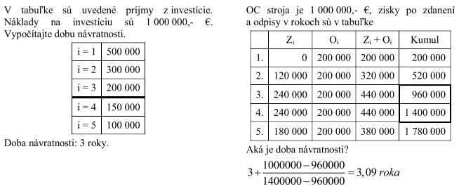 Tradičné finančné metódy hodnotenia investičných projektov - Diskontovaná doba návratnosti  - tabuľka